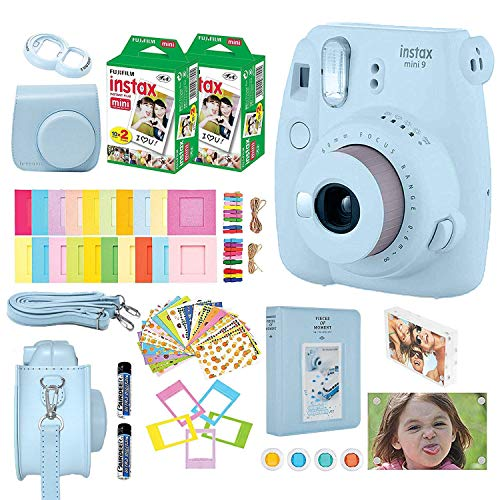 Fujifilm Instax Mini 9 Kids Instant Camera + Fuji Instax Film (40 Sheets) + Accessories Bundle, Case, Acrylic Magnetic Picture Frames, Batteries, Color Filters, Photo Album, More (Ice Blue)