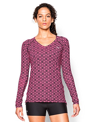 Under Armour Women's HeatGear Armour Printed Long Sleeve, Black (005), Large