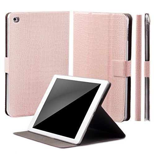 Caiman Pedestals - iCues | Compatible with Apple iPad Mini 4 Case | 360° Rotating Stand | Crocodile Caiman rose | Manzano Cover | other Leather - and color variations available | Smart Wallet Flip Thin Ultra Slim