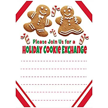 Amazon Com Holiday Cookie Exchange Invitations Christmas Cookie