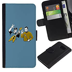 KingStore / Leather Etui en cuir / Samsung Galaxy S6 / Divertido Heavy Rock Band
