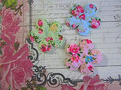 Amazon.com: 60 shabby rose cotton print butterfly flower applique
