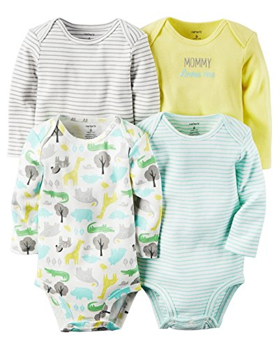 Oshkosh Fleece Shorts - Carters Baby Boys 4-pack Long-sleeve Bodysuits (6 months, animals)