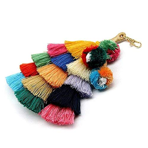 Cable Pendant Assembly - BoMiVa - Colorful Boho Pom Pom Tassel Bag Charm Key Chain A Style Fringed Pendant