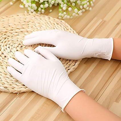 Color : White, Size : M-Thick Ywlanlantrading Guanto Guanti monouso in Nitrile Bianco Guanti monouso in Lattice di Sicurezza Industrializedd 100 Pezzi