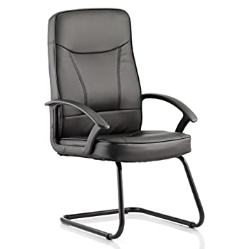 Dynamic Blitz Visitor Cantilever Bonded Leather Chair With Arms   Black