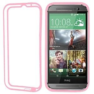 Bumper Transparent TPU Case Cover Plastic Frame Carcasa Para HTC One M8 (Pink)