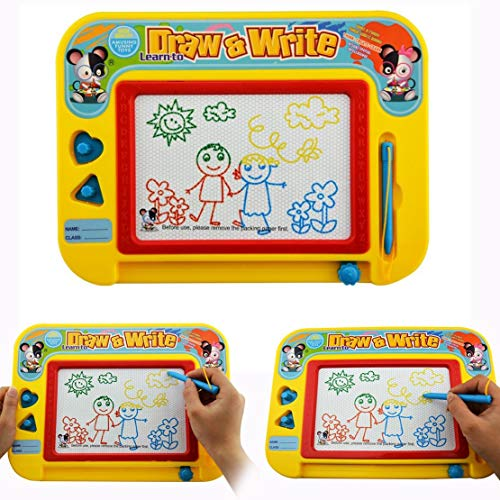 RIZUIEI Magnetic Drawing Board,4 Color Zone Erasable Colorful Magna Doodle Toys Writing Sketching Pad - Boy Girl Painting Learning Birthday Gift Present