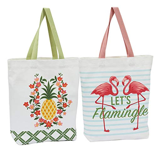 Design Imports Set of 2 Tropical Glam Printed Totes - Flamingo Let's Flamingle - Pineapple Floral - Cotton - Beach Grocery Shopping
