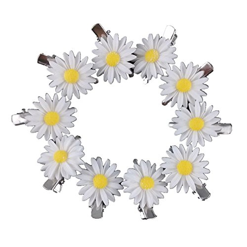 Yueton 10pcs Little Daisy Flower Barrettes Bobby Pin Alligator Clip Hair Clips Bride Head-wear Edge Clip Clamps (White)