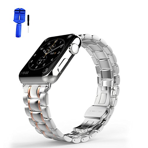 (HUANLONG New Solid Stainless Steel Metal Replacement 5 Pointers Watchband Bracelet with Butterfly Clasp for Apple Watch iWatch Series 1/Series 2, Silver/Rose Gold, 38 mm)