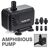 HOUSE DAY 800GPH (3000L/h) 45W Amphibious Submersible Pump Fountain Water Pump Dry Burning Prevention Fuction,6.55ft Power Cord,6 Nozzles Aquarium, Fish Tank, Pond, Hydroponics,used out in