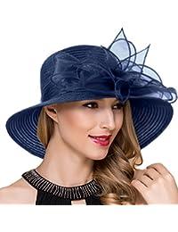 45abe778ee5 Women Kentucky Derby Church Dress Cloche Hat Fascinator Floral Tea Party Wedding  Bucket Hat S052