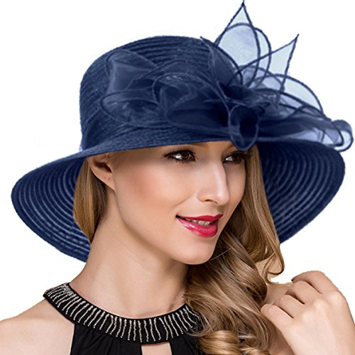 Women Kentucky Derby Church Dress Cloche Hat Fascinator Floral Tea Party Wedding Bucket Hat S052 S052 (Navy)]()