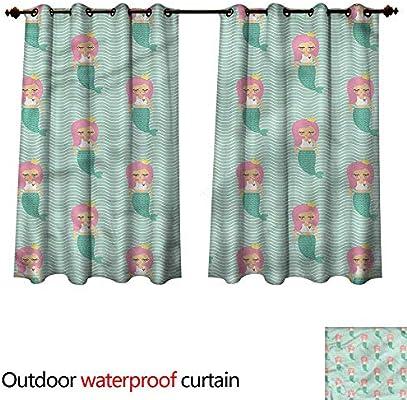 Sunnyhome Cortina para Puerta corredera con Forma de Cola de Sirena con Burbujas para oscurecer y aislar térmicamente: Amazon.es: Jardín