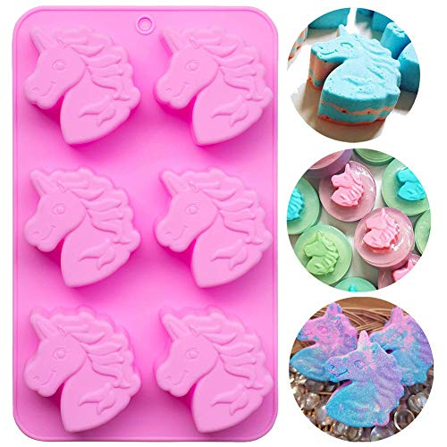 Palksky Unicorn Mold/6 Cavities Silicone Soap Molds/Unicorn Bath Bomb Mold, Baking Muffin Cake Pan for Pudding Loaf Brownie Cornbread Cheesecake Chocolate Candy Jelly Resin Crayon Lotion Bars Ice