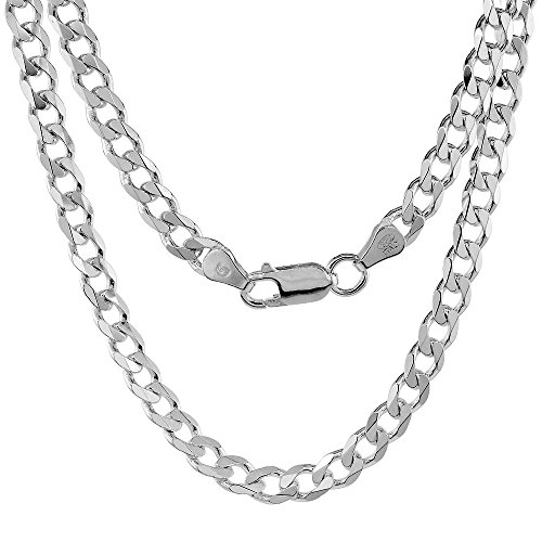 Pori Jewelers Solid 925 Sterling Silver Cuban Chain Necklace - Made in Italy - 2.8mm, 4.5mm, 6mm, 7mm, 8mm, 8.5mm, 10.5mm, 12mm-Heavyweight Silver- Mens or Ladies Curb Chain (22, 5MM)