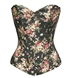 BSLINGERIE® Womens Floral Denim Boned Bustier Corset