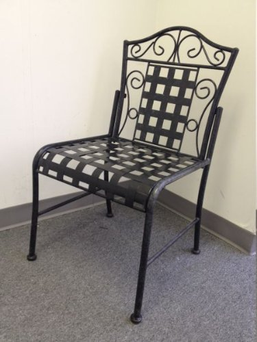 MANDALAY IRON PATIO 2 BISTRO CHAIRS - in an ANTIQUE BLACK FINISH - PATIO FURNITURE (Antique Wrought Iron Furniture)