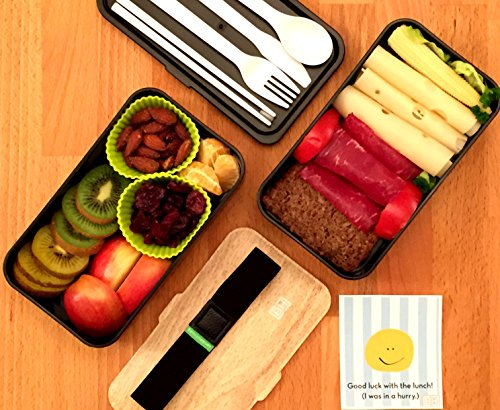 bentoheaven leakproof bento box with fun lunch notes cutlery chopsticks bamboo black in. Black Bedroom Furniture Sets. Home Design Ideas