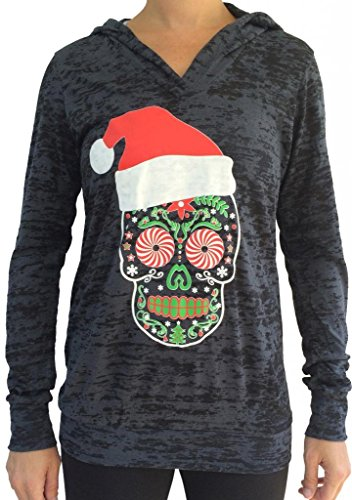SoRock Women's Santa Sugar Skull Burnout Hoodie Medium Black (Hoodie Top Burnout)