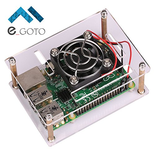 Acrylic Clear Case Enclosure Transparent Shell Cover With Cooler Fan Cooling for Raspberry Pi 3 Model B / 2 Model B / B+ (Transparent Raspberry)