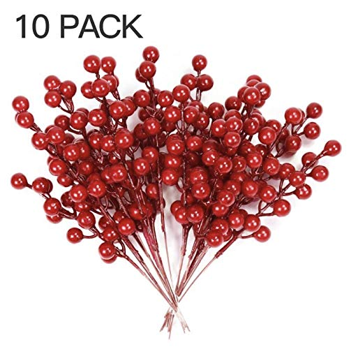 LSKY 10 Pack Artificial Red Berry,Red Berries Stems Holly Christmas Berries for Crafts,Holiday and Home Christmas Tree Decorations,8.26 Inches