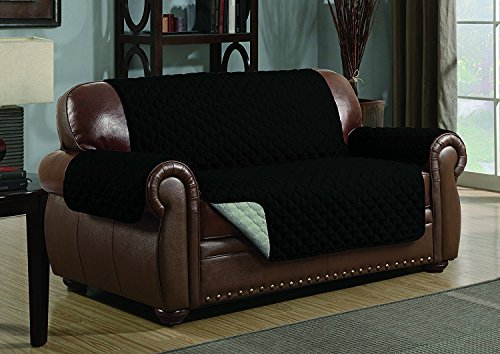 Quilted Reversible Microfiber Pet Dog Couch Furniture Protector Cover (Loveseat, Black/Gray) ()
