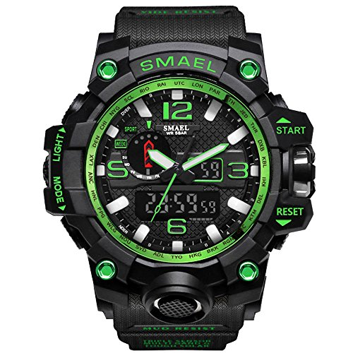 - IRELOJ Fngeen Men's Large Face Dual Dial Analog Digital Quartz Military Sport Watch 164FT Water Resistant-Green