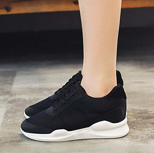 Shoes Size Running Snakers Casual Shoes 34 Anti Slip Sport Pump Shoelace Black Eu Fitness Pure Women Shoes Comfortable Yarn Net Breathable Color Mesh 40 TqxRX