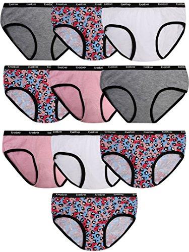 bebe Girls Hipster Bikini Underwear, Leopard, Small/7-8 (10 Pack) by bebe