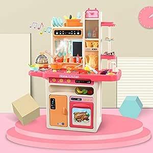 DUSANER Quality goods Infant Shining 93cm Kids Kitchen Toys 65pcs Pretend Play Simulation Kitchen Children's Cooking Toys 2-4 Years Kitchen Toys Set Boutique light up life (Color : Pink 65pcs)