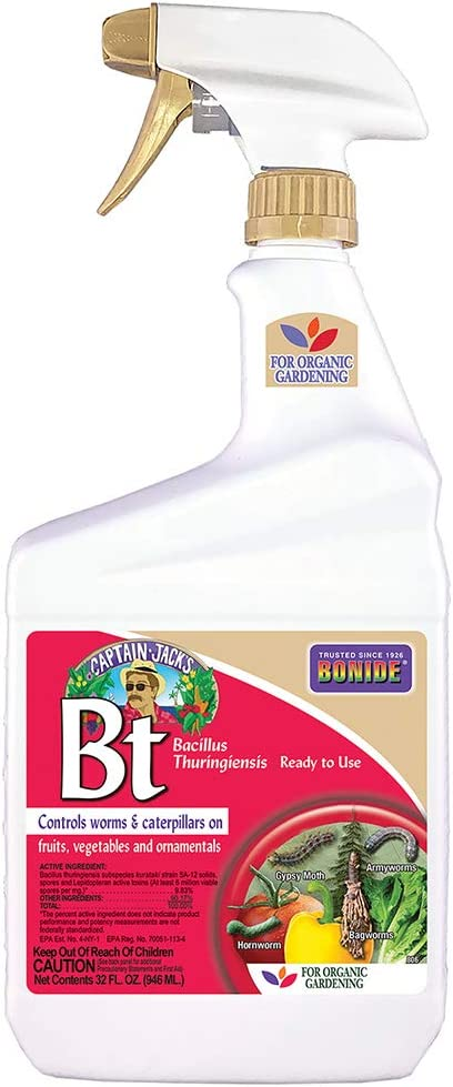Bonide (BND806) - Caterpillar and Worm Killer, Bacillus Thuringiensis (Bt) Ready to Use Insecticide/Pesticide Spray (32 oz.)