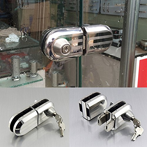 GOODKSSOP With 3 Keys Only Fit 10mm -12mm thickness Single Swing Hinged Frameless Glass Door Lock Durable Metal Chrome Stainless Steel Anti-theft Security Lock (Chrome Double Glass Door Lock)
