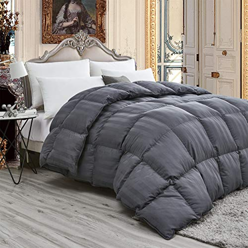 (Luxurious Light Weight Goose Down Comforter King/California King Size Duvet, Exquisite Gray Stripe Design, 1200 Thread Count 100% Egyptian Cotton Fabric, 750+ Fill Power, 50 oz Fill Weight)