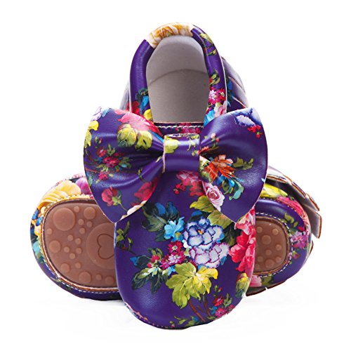 - HONGTEYA Baby Moccasins with Rubber Sole - Flower Print PU Leather Tassel Bow Girls Ballet Dress Shoes for Toddler (12-18 Months/US 6/5.12''/ See Size Chart, purpleF-Bow)