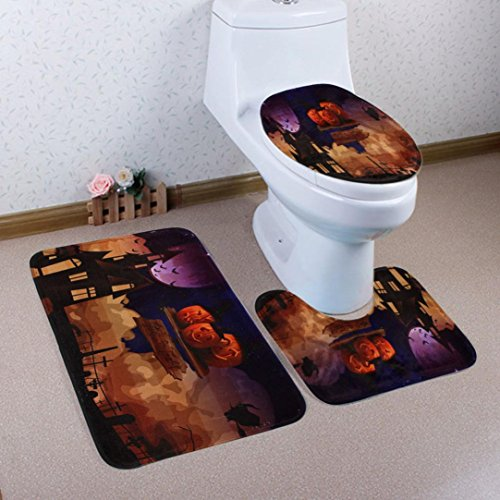 Boomboom Halloween Bathroom Decorations Non-Slip Pedestal Rug + Lid Toilet Cover + Bath Mat (C)