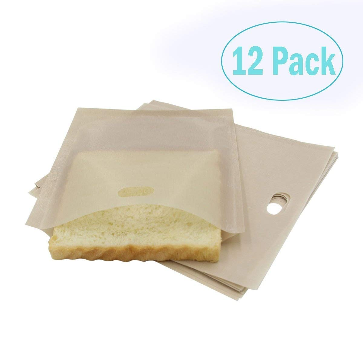 Toaster Bags (12 Pack) for Grilled Cheese Sandwiches, Reusable and Non-stick by Fun.U