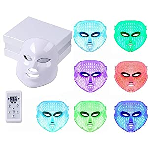 Angel Kiss LED Photon Therapy 7 Color Light Treatment Skin Rejuvenation Whitening Facial Beauty Daily Skin Care Mask (Mask+ Portable Function Board)