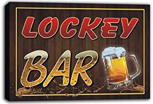 scw3-027254 LOCKEY Name Home Bar Pub Beer Mugs Stretched Canvas Print Sign