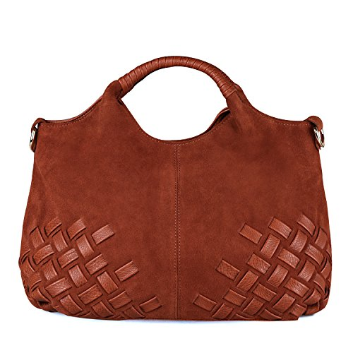 - Nico Louise Women Weave Suede Genuine Leather Handbag Female Leisure Casual Lady Crossbody Shoulder Bag Messenger Top-handle Bags (Light Brown Big)