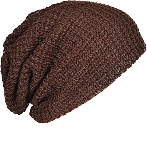 FORBUSITE Mens Slouchy Long Oversized Beanie Knit Cap for Summer Winter B08 (Brown)