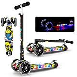 Heilsa Multi-Function Graffiti Three-Wheel Flash Scooters Folding Children Scooter with Musicc