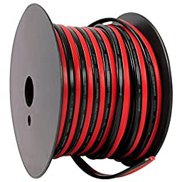 Rockville R14GSBR75 Red/Blk 14 Gauge 75\' Ft. Mini Spool Car Audio Speaker Wire For Great Sound Quality and Eliminating Unwanted Noise