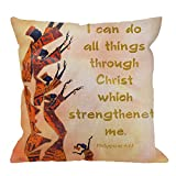 HGOD DESIGNS African Culture Pillow Case,I Can Do All Things Through Christ Who Strengthens Me Cotton Linen Cushion Cover Square Standard Home Decorative for Men/Women/Kids 18x18 inch Yellow Red