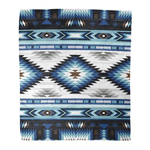 Golee Throw Blanket Colorful Blue Colors Tribal Navajo Pattern Aztec Abstract Geometric Ethnic 60x80 Inches Warm Fuzzy Soft Blanket for Bed Sofa