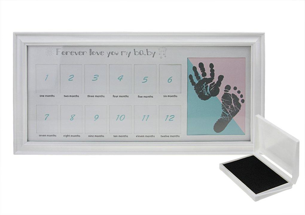 Baby Bilderrahmen Mein erstes Jahr 12 Monate Baby Bild Foto Frame Andenken-Rahmen,Holzrahmen, mit Hand / Fuß-Abdrücke(inkl. Stempelkissen),Erinnerungens,Weihnachts-Geschenk für neugeborenes Baby-Weiß Greenery