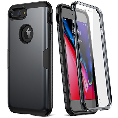 YOUMAKER Case for iPhone 8 Plus & iPhone 7 Plus, Full Body Rugged with Built-in Screen Protector Heavy Duty Protection Slim Fit Shockproof Cover for Apple iPhone 8 Plus (2017) 5.5 Inch - Black by YOUMAKER