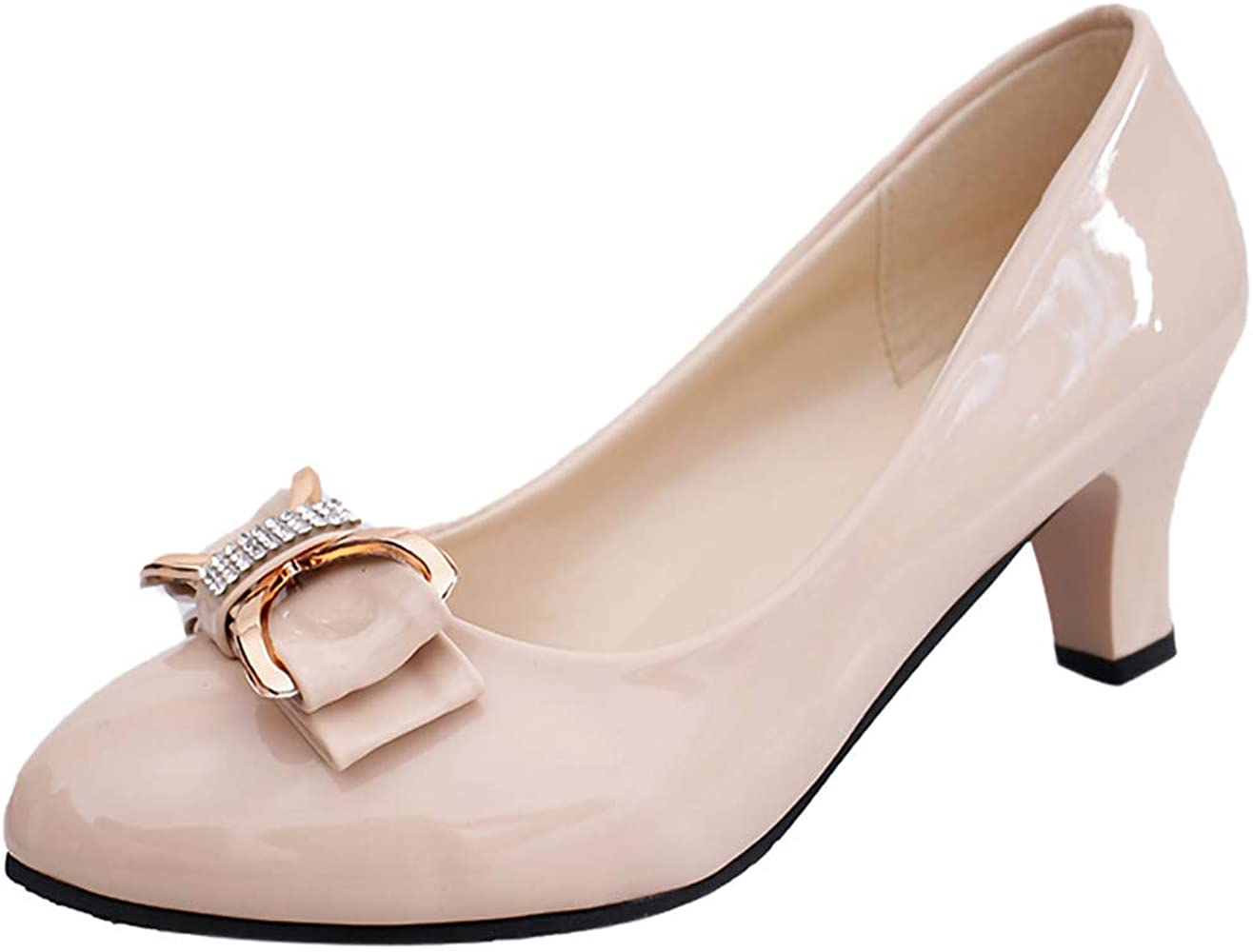 3c8a3e1d0a41b Woman's Casual Patent Leather Point Toe Slip-On Work Shoes Low Chunky Heel  Pumps Ladies Bow Shallow Shoes