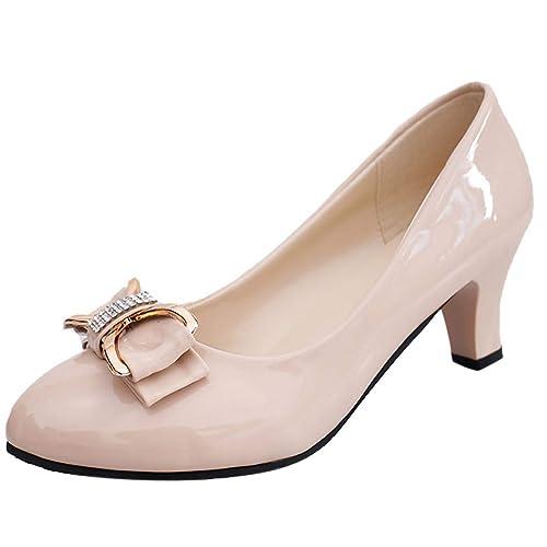 Dragon868 Scarpe Donna Elegante con Tacco 6cm pellenta Rotonda Bowknot Larghi Tacco A Blocco Classico Single Shoes Businese Ladies 35 42